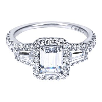 14k White Gold Emerald Cut Halo Engagement Ring by Gabriel NY