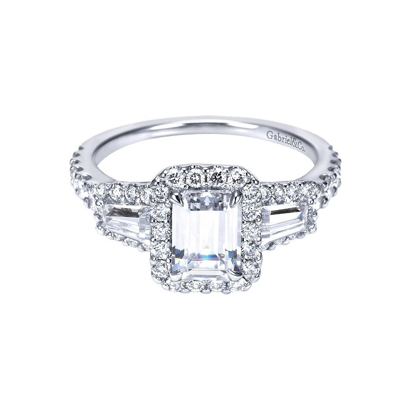 Gabriel NY 14k White Gold Emerald Cut Halo Engagement Ring by Gabriel NY