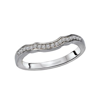 14k White Gold Scalloped Diamond Wedding Ring