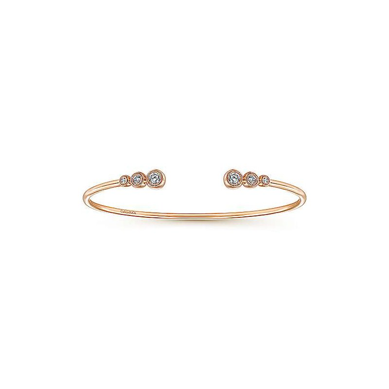 "Signature Collection Bujukan Collection 7"" Bangle Bracelet by Gabriel NY in 14k Rose Gold"