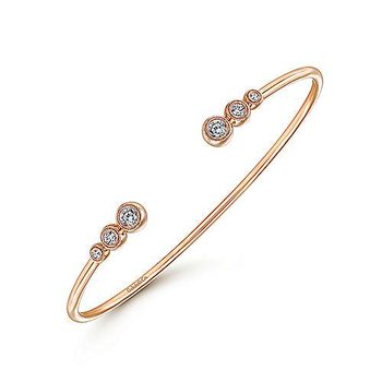 "Bujukan Collection 7"" Bangle Bracelet by Gabriel NY in 14k Rose Gold"