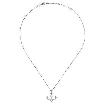 Graceful 14k White Gold Diamond Anchor Pendant by Gabriel NY - Style #NK5842W