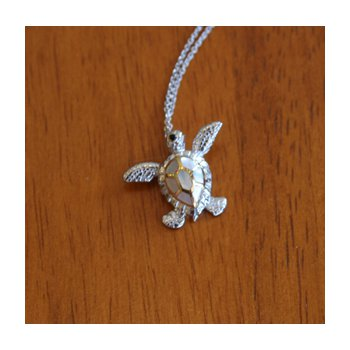 Sterling Silver and 18k Gold Plated Sea Turtle Pendant with White Mother of Pearl Inlay