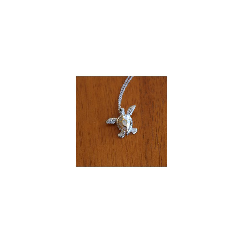 Kovel Sealife Sterling Silver and 18k Gold Plated Sea Turtle Pendant with White Mother of Pearl Inlay