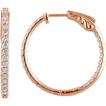 14k Rose Gold 1ctw Inside Out Diamond Hoops