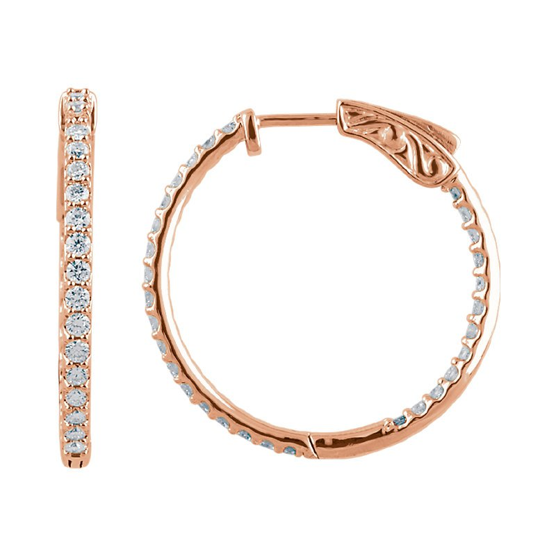 Signature Collection 14k Rose Gold 1ctw Inside Out Diamond Hoops