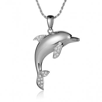 Alamea 14k White Gold Tail Dancing Dolphin Pendant