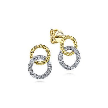 14k Yellow & White Gold Open Circle Twisted Rope and Diamond Stud Earrings