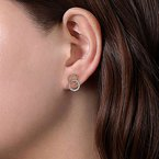 Signature Collection 14k Yellow & White Gold Open Circle Twisted Rope and Diamond Stud Earrings