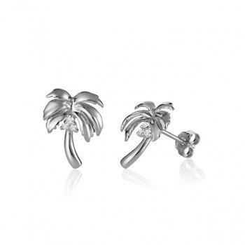 Alamea 14k White Gold Diamond Palm Tree Earrings