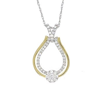 14k White and Yellow Gold Diamond Pendant with moving Halo