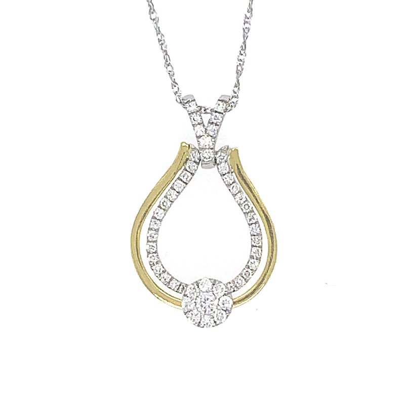 Signature Collection 14k White and Yellow Gold Diamond Pendant with moving Halo