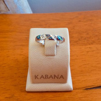 Kabana 14k White Gold Australian Opal and Diamond Band - #34982