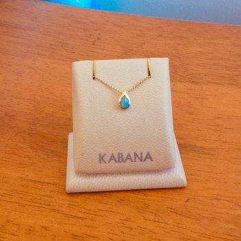 14k Yellow Gold Teardrop Necklace by Kabana with Australian Opal Inlay