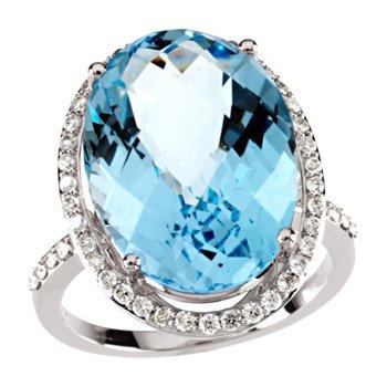Genuine Checkerboard Sky Blue Topaz & Diamond Ring
