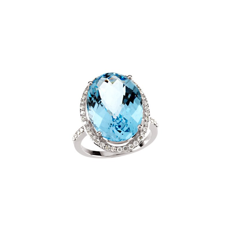 Signature Collection Genuine Checkerboard Sky Blue Topaz & Diamond Ring