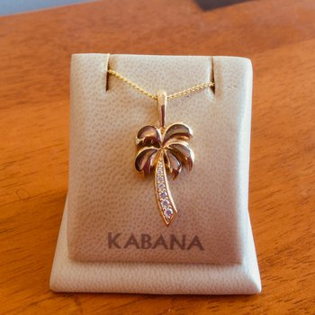 14k Yellow Gold Bronze Mother of Pearl & Diamond Palm Tree Pendant