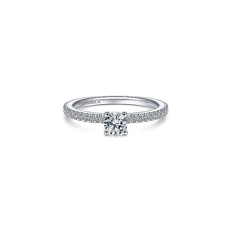 Gabriel NY 14k White Gold Petite Solitaire Diamond Ring by Gabriel NY