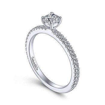 14k White Gold Petite Solitaire Diamond Ring by Gabriel NY