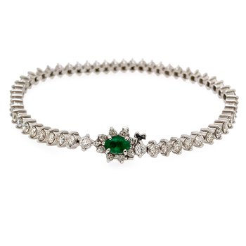 14k White Gold Diamond Tennis Bracelet with an Emerald Halo Clasp