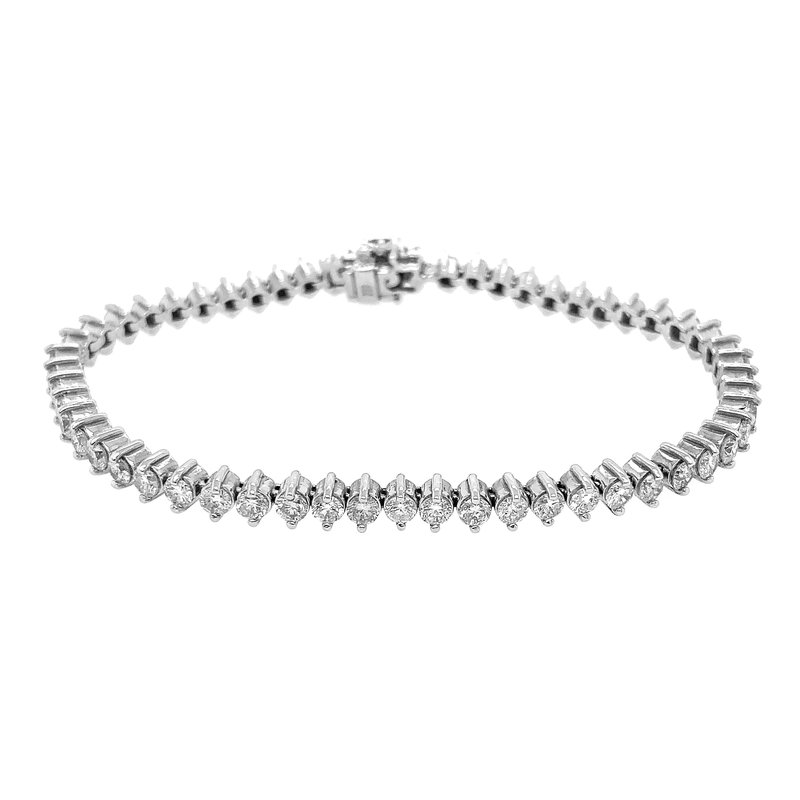 Signature Collection 14k White Gold Diamond Tennis Bracelet with an Emerald Halo Clasp
