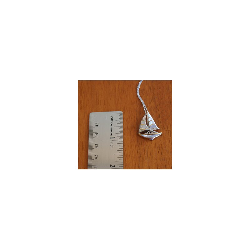 Kovel Sealife Sterling Silver and 18k Gold Plate Sailboat Pendant with White Mother of Pearl Inlay