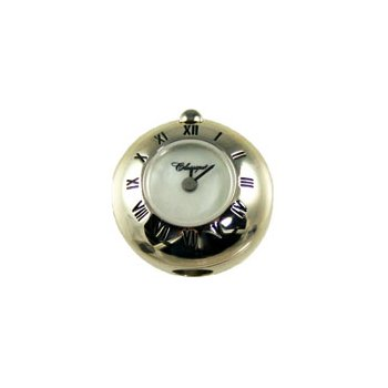 Sterling Silver Bead Watch with Black Enamel Roman Numerals and White Mother of Pearl