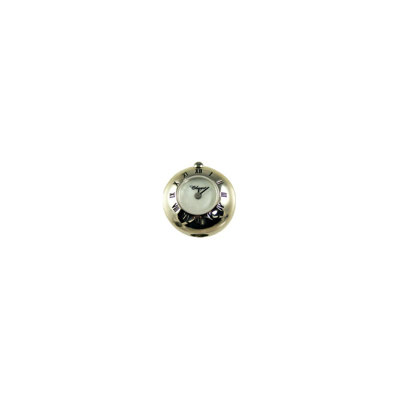 Swiss Watches Sterling Silver Bead Watch with Black Enamel Roman Numerals and White Mother of Pearl