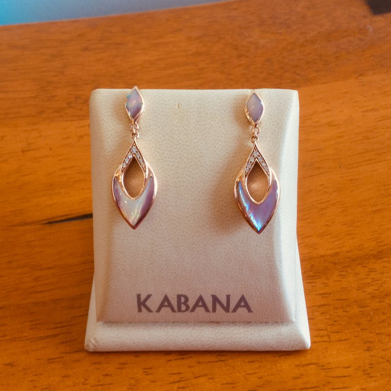 Kabana Jewelry Pink Mother of Pearl and Diamond Dangle Earrings in 14k Rose Gold