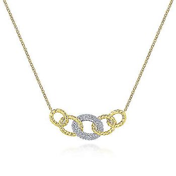 14k Yellow and White Gold Twisted Rope Diamond Link Necklace