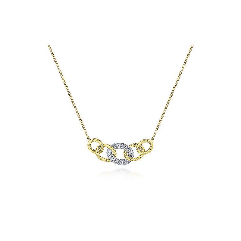 Signature Collection 14k Yellow and White Gold Twisted Rope Diamond Link Necklace