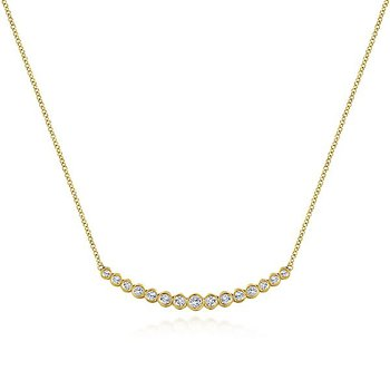 14k Yellow Gold Curved Bezel Set Diamond Bar Necklace by Gabriel NY - Style #NK5797Y