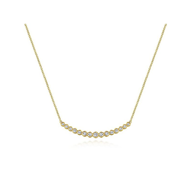 Signature Collection 14k Yellow Gold Curved Bezel Set Diamond Bar Necklace by Gabriel NY - Style #NK5797Y