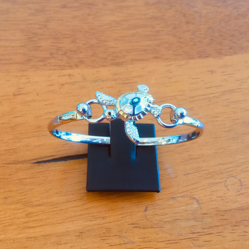 Kovel Sealife Kovel Sterling Silver Turtle Topper with White Mother of Pearl and Abalone