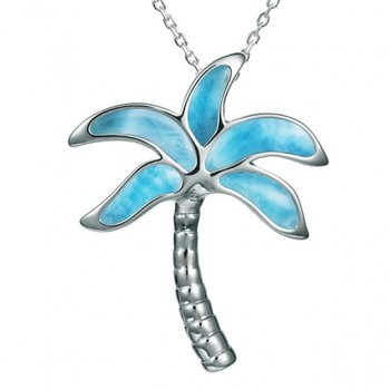 Alamea Collection Sterling Silver Palm Tree with Larimar