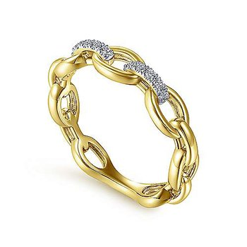 14k Yellow Gold Oval Chain Link Diamond Ring by Gabriel NY