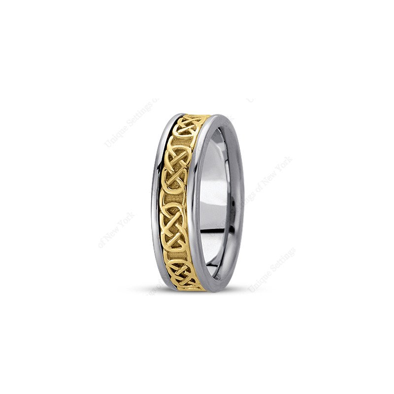 Unique Settings Unique Settings - HM221 - Y - W - 14k Yellow and White Gold Handmade Celtic Design 6mm Men's Wedding Band