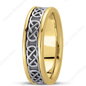 Unique Settings - HM221 - Y - W - 14k Yellow and White Gold Handmade Celtic Design 6mm Men's Wedding Band