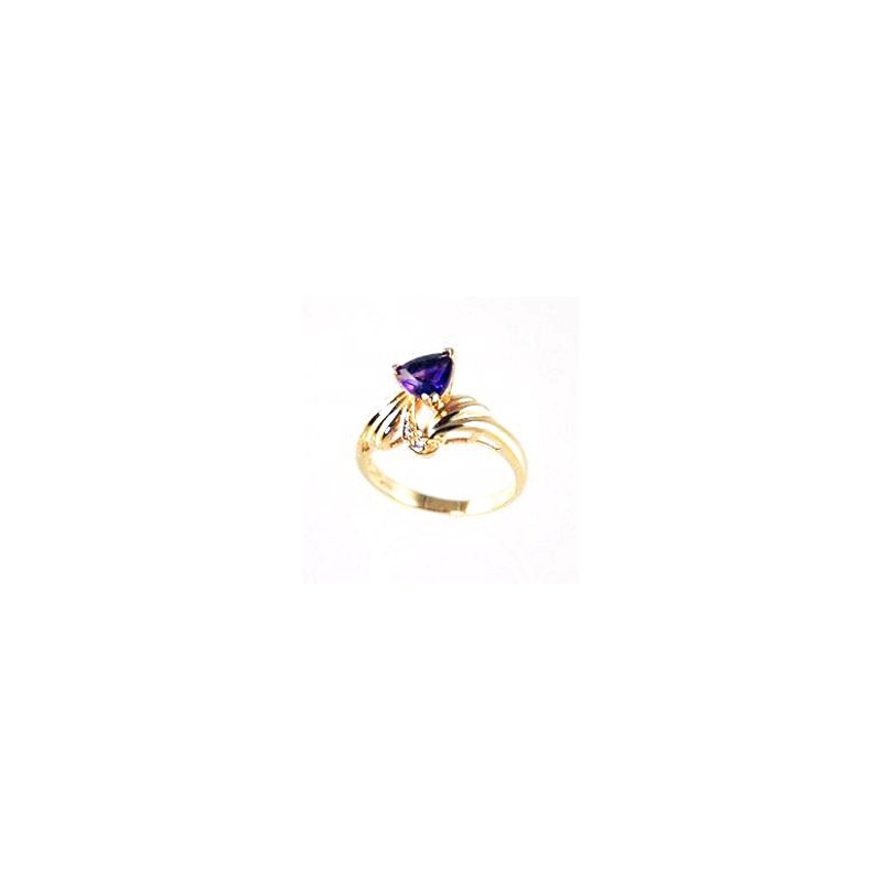Signature Collection Genuine Amethyst and Diamond Ring in 14k Yellow Gold