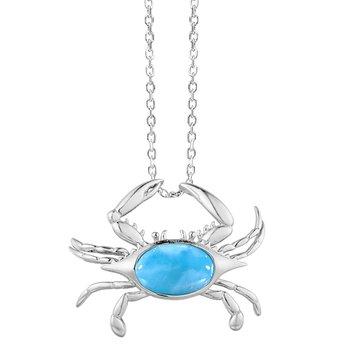 Sterling Silver Larimar Crab Pendant