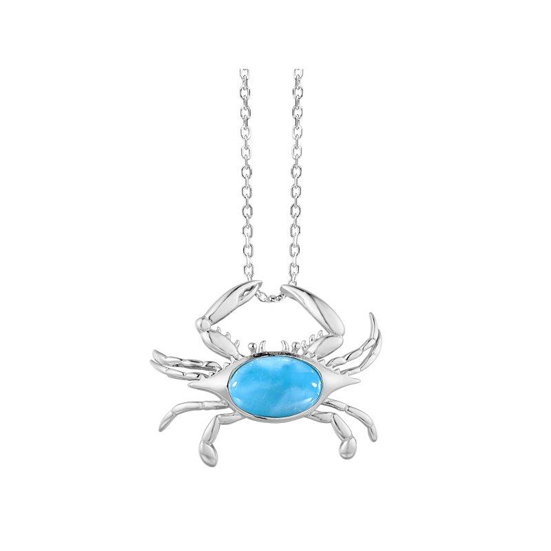 Sealife Jewelry Sterling Silver Larimar Crab Pendant
