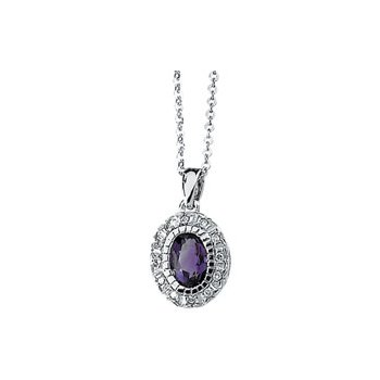 Genuine Amethyst & Diamond Necklace