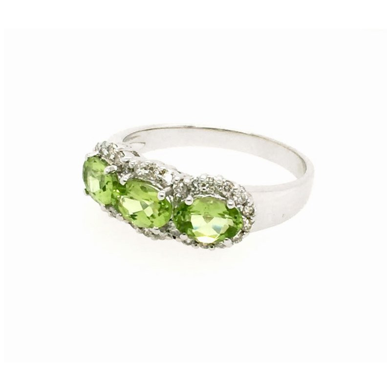 Signature Collection 14k White Gold 3-Stone Halo Oval Peridot Ring