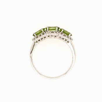 14k White Gold 3-Stone Halo Oval Peridot Ring