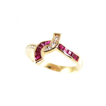 Genuine Ruby and Diamond Ring in 14k Yellow Gold