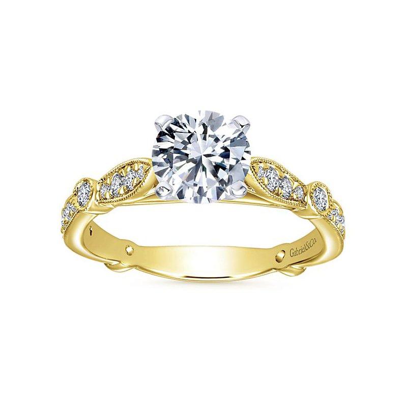 Gabriel NY Gabriel NY 14k Yellow Gold Vintage Style Diamond Engagement Ring Style #ER6711