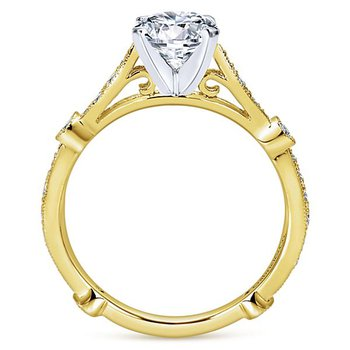 Gabriel NY 14k Yellow Gold Vintage Style Diamond Engagement Ring Style #ER6711