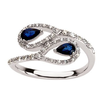 Genuine Blue Sapphire & Diamond Ring - El1603134