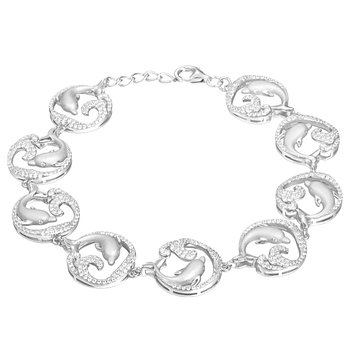 Sterling Silver Dolphin Wave Bracelet with Cubic Zirconia