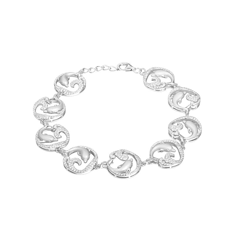 Sealife Jewelry Sterling Silver Dolphin Wave Bracelet with Cubic Zirconia